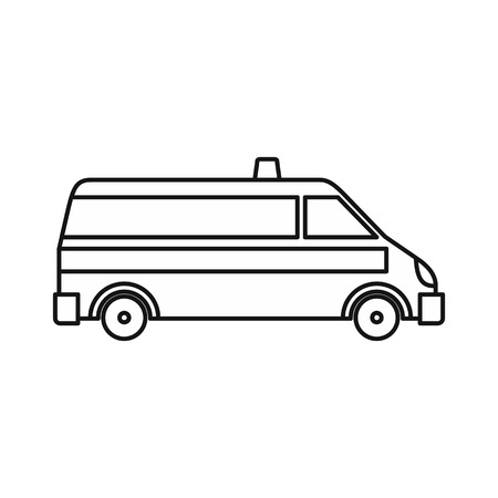 disaster relief: Ambulance car icon in outline style on a white background vector illustration