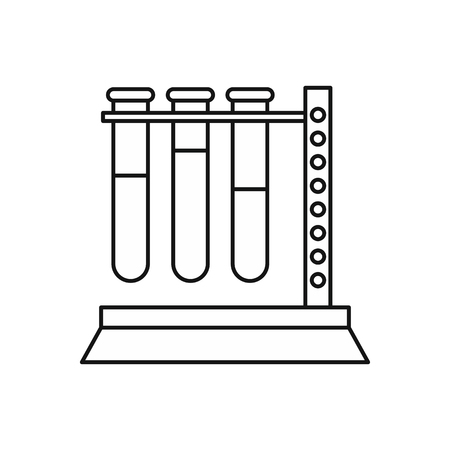 Medical test tubes in holder icon in outline style on a white background vector illustration