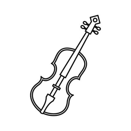 concerto: Cello icon in outline style on a white background vector illustration