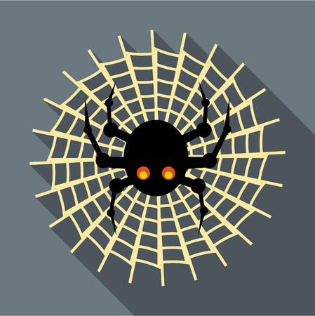 spidery: Spider on cobweb icon in flat style with long shadow. Insect symbol vector illustration