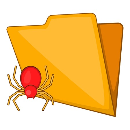 Folder with a bug icon in cartoon style isolated on white background vector illustration