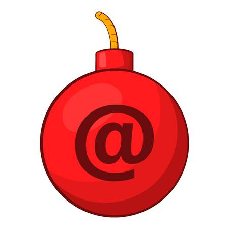 email bomb: Mail bomb icon in cartoon style isolated on white background vector illustration