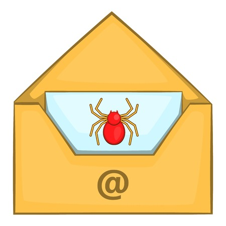 Infected email icon in cartoon style isolated on white background vector illustration