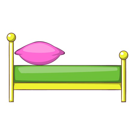 duvet: Kid bed icon in cartoon style isolated on white background vector illustration