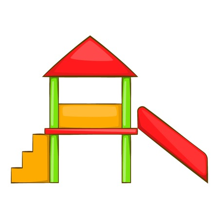 playhouse: Playhouse with slide icon in cartoon style isolated on white background vector illustration