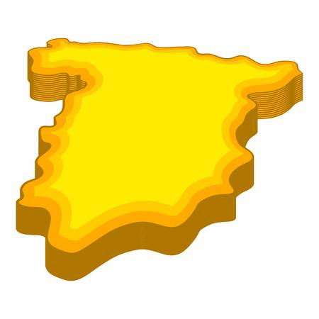 madrid: Map of Spain icon in cartoon style isolated on white background vector illustration