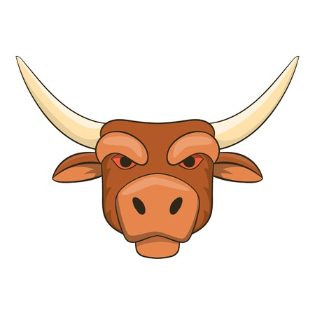 zodiac anger: Head of bull icon in cartoon style isolated on white background vector illustration Illustration