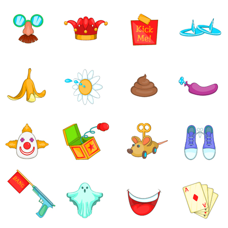 prank: April fools day icons set in cartoon style. Prank playful actions set collection vector illustration