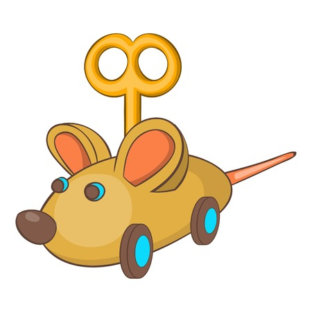 prankster: Clockwork mouse icon in cartoon style isolated on white background vector illustration