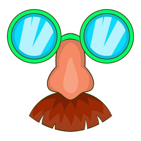 fake nose and glasses: Disguise mask icon in cartoon style isolated on white background vector illustration Illustration
