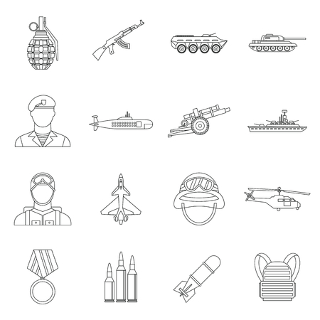 War icons set in outline style. Military equipment set collection vector illustration Vettoriali