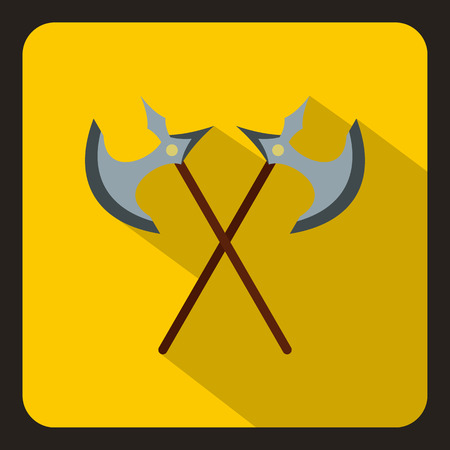 Crossed ancient battle axes icon in flat style on a white background vector illustration