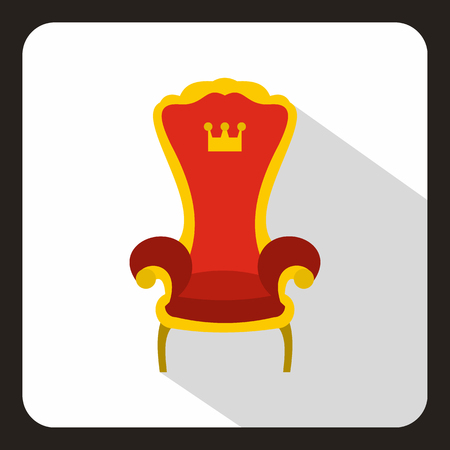 Red royal throne icon in flat style on a white background vector illustration