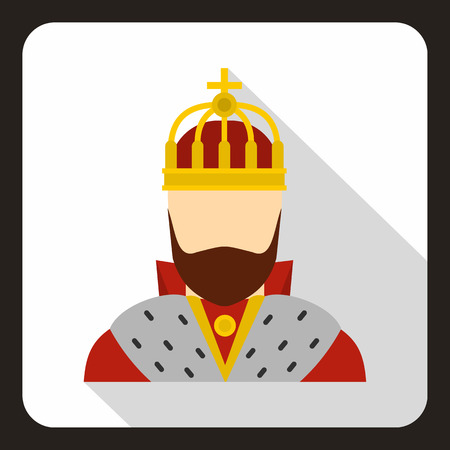 Medieval King icon in flat style on a white background vector illustration