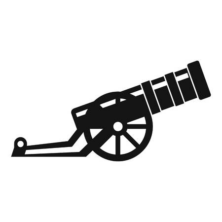 wheel barrel: Cannon icon in simple style on a white background vector illustration Illustration
