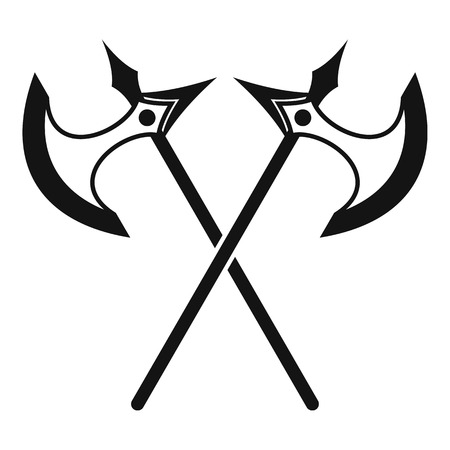 axes: Crossed battle axes icon in simple style on a white background vector illustration