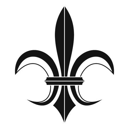 Ikona heraldyczny Lily heraldyczny w prostym stylu na białym tle ilustracji wektorowych