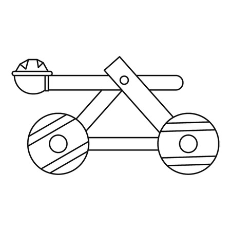 roman soldier: Wooden catapult icon in outline style on a white background vector illustration Illustration