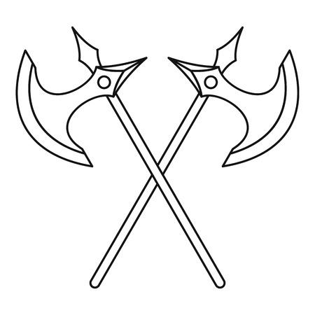 Crossed battle axes icon in outline style on a white background vector illustration Vektoros illusztráció
