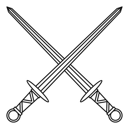 longsword: Medieval swords icon in outline style on a white background vector illustration Illustration