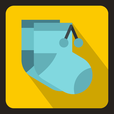 Pair of blue baby socks icon in flat style on a white background vector illustration Illustration