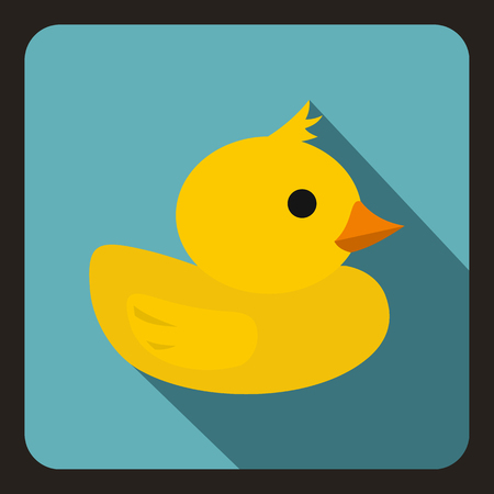 duck toy: Yellow duck toy icon in flat style on a white background vector illustration