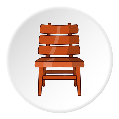 Chair icon in cartoon style isolated on white circle background. Furniture symbol vector illustration