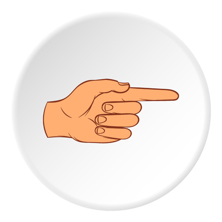 control of body movement: Gesture with index finger icon in cartoon style on white circle background. Gestural symbol vector illustration Illustration
