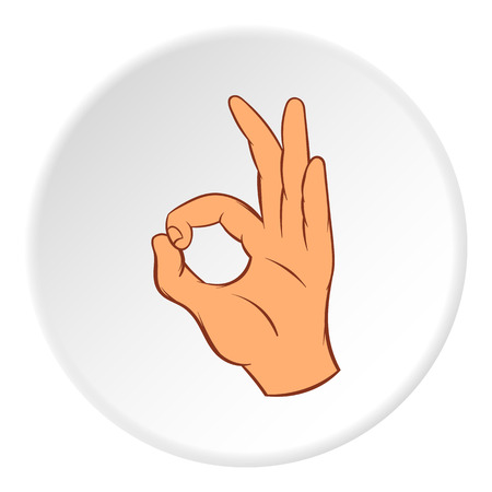 okay: Gesture okay icon in cartoon style on white circle background. Gestural symbol vector illustration