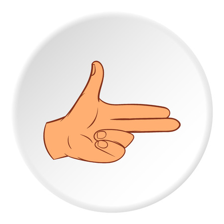 control of body movement: Gesture index and middle finger together icon in cartoon style on white circle background. Gestural symbol vector illustration Illustration