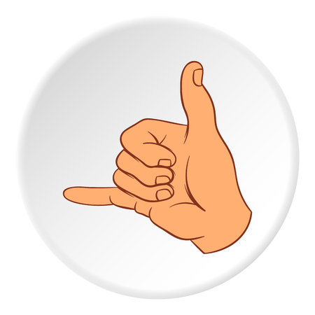 gestural: Gesture surfing icon in cartoon style on white circle background. Gestural symbol vector illustration Illustration