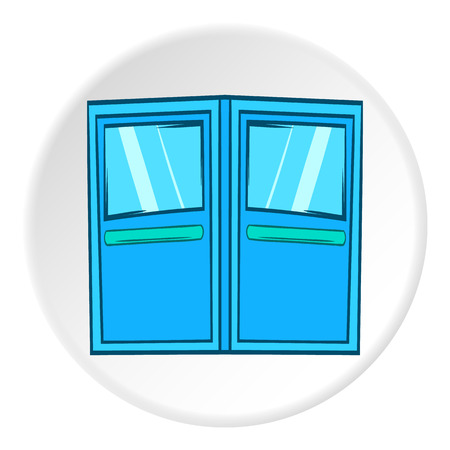 double entry: Double door for restaurant icon in cartoon style on white circle background. Interior design symbol vector illustration