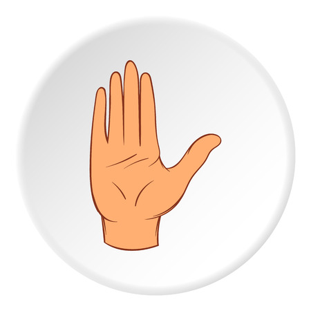 control of body movement: Open palm icon in cartoon style on white circle background. Gestural symbol vector illustration