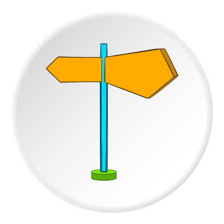 traffic pole: Road sign icon in cartoon style on white circle background. Navigation symbol vector illustration