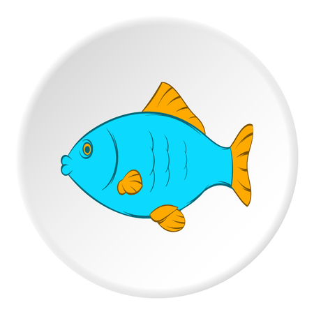 Fish icon in cartoon style on white circle background. Seafood symbol vector illustration Illustration