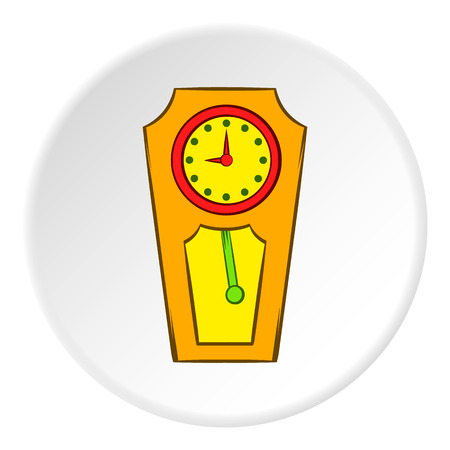 big timer: Large wall clock icon in cartoon style on white circle background. Time symbol vector illustration
