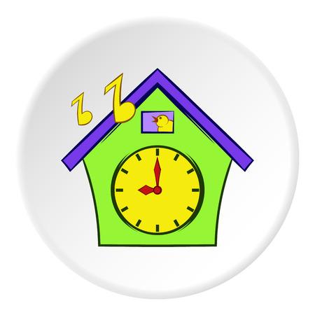 reloj cucu: icono del reloj de cuco en el estilo de dibujos animados sobre fondo blanco círculo. Tiempo de ilustración símbolo del vector