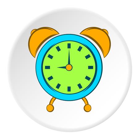 Alarm clock icon in cartoon style on white circle background. Time symbol vector illustration Illustration