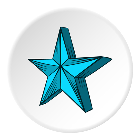 big figure: Big star icon in cartoon style on white circle background. Figure symbol vector illustration Illustration
