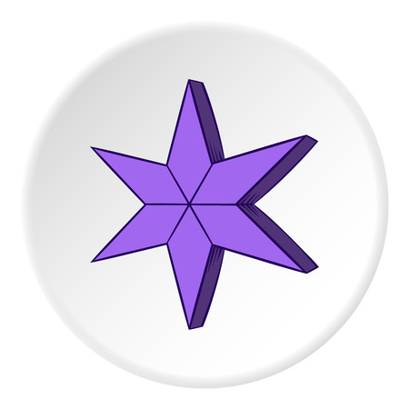 pointed: Heavenly six pointed star icon in cartoon style on white circle background. Figure symbol vector illustration