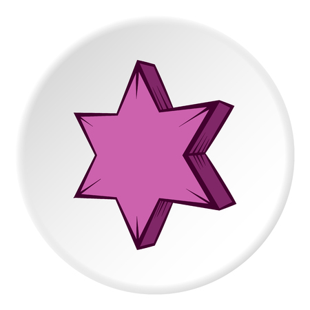 pointed: Geometric shape of six pointed star icon in cartoon style on white circle background. Figure symbol vector illustration
