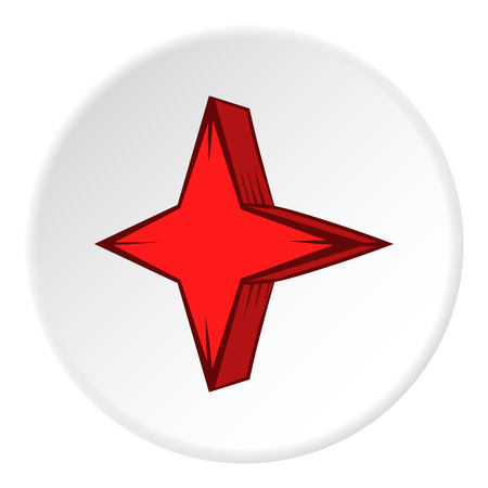pointed: Four pointed star icon in cartoon style on white circle background. Figure symbol vector illustration Illustration