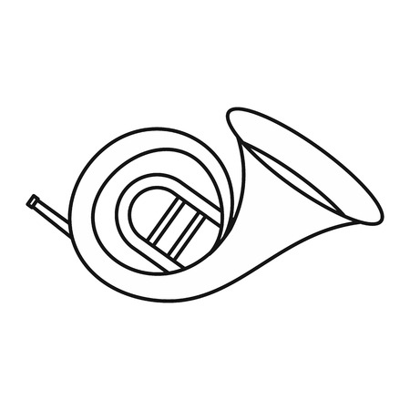 trumpet isolated: Horn trumpet icon in outline style isolated on white background. Musical instrument symbol vector illustration