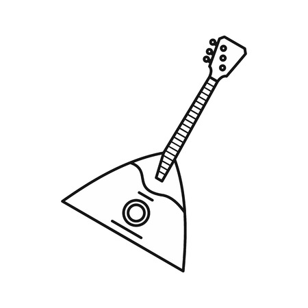 triangle musical instrument: Guitar triangle icon in outline style isolated on white background. Musical instrument symbol vector illustration