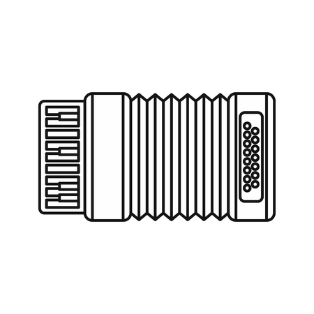 harmonic: Accordion icon in outline style isolated on white background. Musical instrument symbol vector illustration Illustration