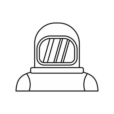 Cosmonaut icon in outline style isolated on white background. Space symbol vector illustration