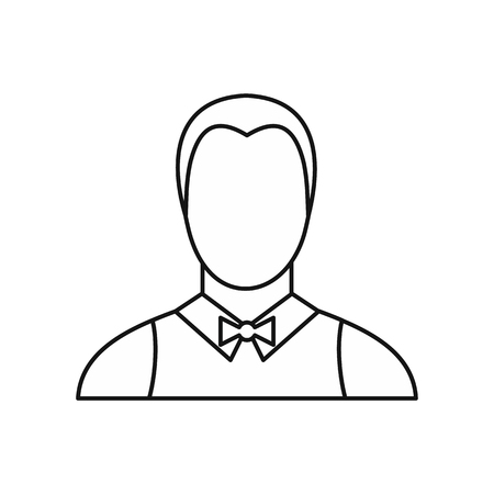 Waiter icon in outline style isolated on white background. Job symbol vector illustration