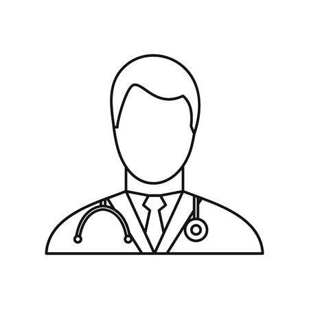 healer: Doctor icon in outline style isolated on white background. Job symbol vector illustration