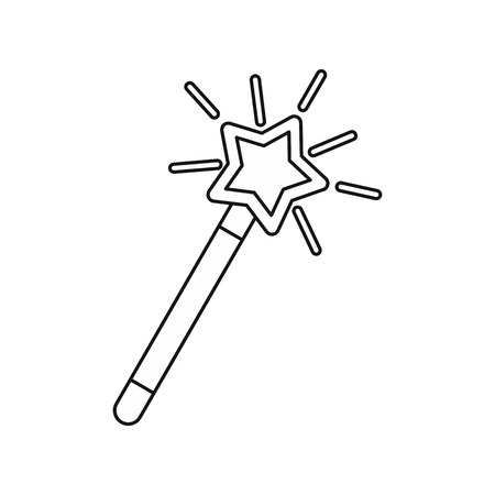 thaumaturge: Magic wand icon in outline style isolated on white background. Tricks symbol vector illustration