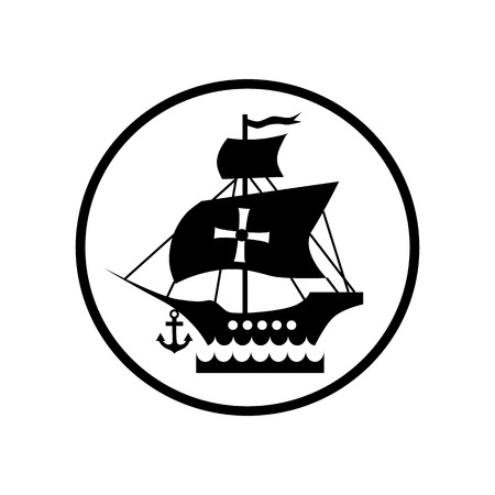 Ship with flag of Columbus icon in simple style isolated on white background. Maritime transport symbol vector illustration Illustration